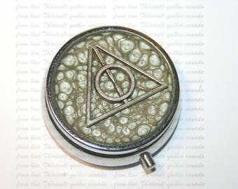 Box for pills, pillbox, pill case, Deathly Hallows on a silver background (p)