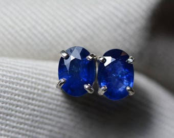 Sapphire Earrings, Blue Sapphire Stud Earrings 1.92 Carat Appraised at 1,525.00, September Birthstone, Certified Sterling Silver Jewellery