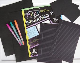 Vintage ~ Milky Gear ~ Gelly Roll Pen ~ Neon ~ Old School ~ Black Pocket Folders & Paper Lot ~ Day Glow 80's 90's