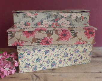 Vintage collection of 3 FRENCH fabric covered boxes Shabby chic   Old faded flowers patterns