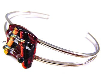 "Dichroic Bracelet - Ruby Red Stained Glass Cuff with Orange & Rust Dichro Stripes Striped Highlights Fused Glass - 1/2"" 13mm"