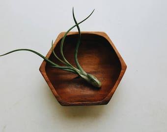 Small Hexagon Wooden Bowl - Modern Farmhouse Accessory - Trinket Bowl - Minimalist