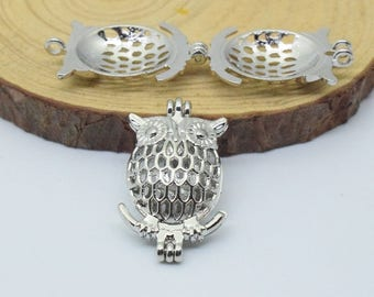 Luck Owl Bead Cage-5pcs 24x38mm Silver Tone Alloy Essential Oil Diffuser Pendant Perfume Locket Hollow Pearl Bead Cage Pendant C8485