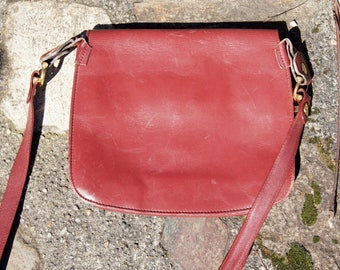70's Must de Cartier Oxblood Leather Saddlebag Purse