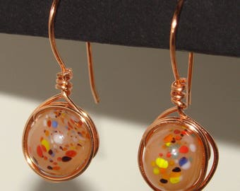 Earrings-Wire wrapped jewelry - Copper wire and confetti lampwork beads