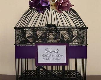 Black Birdcage w Purple, Cream, Lavendar Hydrangeas-Wedding card holder