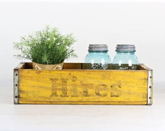 Vintage Wood Crate Hires Root Beer Soda Crate Old Soda Crate Industrial Decor Rustic Decor Vintage Decor Yellow Hires Wood Crate Pop Crate