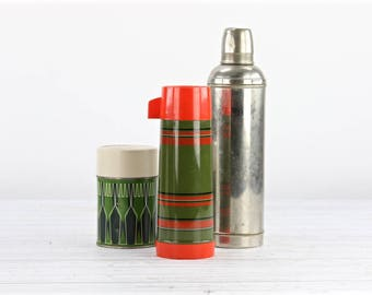 Vintage Thermos 1960's Thermos Aladdin Thermos Plaid Thermos Army Green And Red Thermos Retro Thermos Camping Thermos Cabin Decor