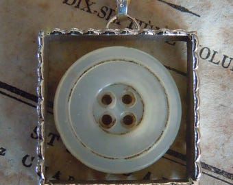 Fiona & The Fig - Victorian MOP Button -  Necklace - Pendant - Jewelry