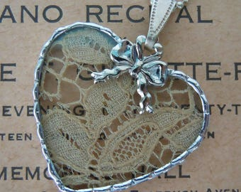 Fiona & The Fig - Antique Lace Charm -  Necklace - Pendant - Jewelry