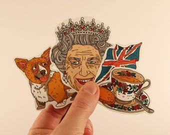 England stickers laptop labels tags queen elizabeth II corgy illustration