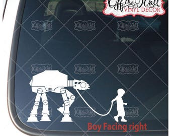 AT-AT Walker with Boy Vinyl Decal Sticker