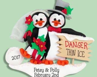 PENGUIN FAMILY of 2 / Couples Wedding HANDMADE Polymer Clay Personalized Christmas Ornament