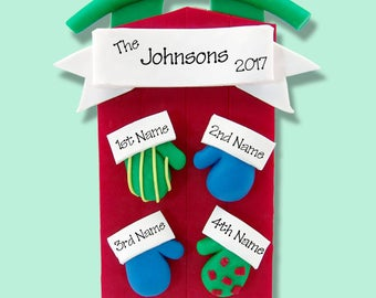 Sled with Mittens  Family of 4 HANDMADE  POLYMER CLAY Personalized Christmas Ornament