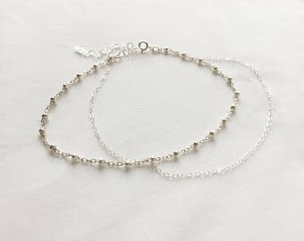 Layered (Anklet) - Sterling silver satellite chain with dainty cable chain