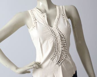 vintage Jean Paul Gaultier tank, leather sleeveless top