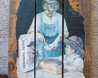 Vintage Flour Advertising Print Wall Hanging Ceresota Flour 1940s Mother and Child Kitchen Decor Vintage 1970s
