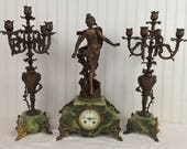 AD. Mougin French Mantle Clock with Bronze Statue by Auguste Moreau titled Nymph de L'onde