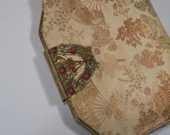 Asian Silk Brocade Evening Bag - Art Nouveau Carnelian Cabachon Goldtone Clasp - Belt Attachment