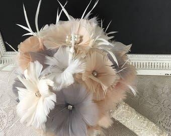 Wedding bouquet, Champagne Wedding bouquet, Feather bouquet, Gatsby Wedding, Grey Bridal bouquet, Brooch bouquet, Alternative bouquet