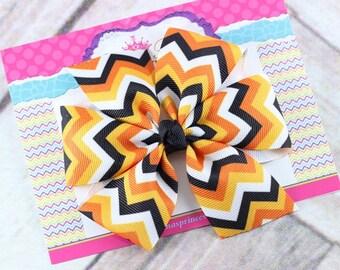 Baby Bows, Toddler Bows, Girls Hair Bows, Hair Clip, Fall Hair Bow Headband, Halloween Chevron Hair Bow, Black Orange Bow, 4 Inch Hair Bow