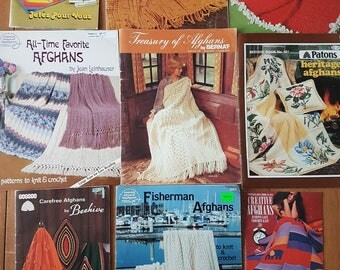 Lot of 9 Vintage Knitting and Crochet Pattern Booklets for Afghans 70s 80s Blankets Coverlets