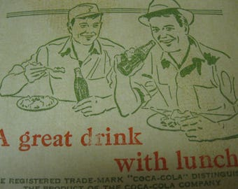 """Coca Cola Retro Cool Estate Find Vintage Collectible Paper No-Drip Bottle Protector """"A great drink with lunch"""" Picture of Two Men at Counter"""