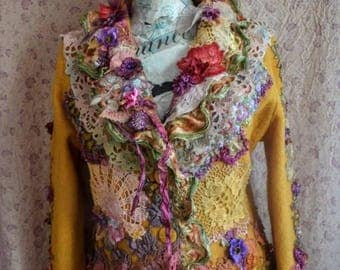 Reconstructed Reworked Altered couture jacket size M bohemian jacket romantic fairy victorian schabby chic jacket art to wear wearable art