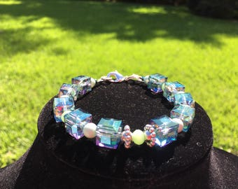 Sea Green Crystal Cube Bracelet