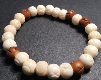 Men's Bone & Wood Bracelet