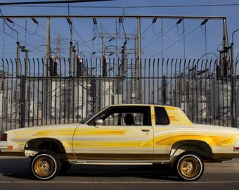 Photograph of a low rider car in downtown Los Angeles