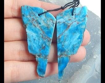 New,Nugget AAA Blue Apatite Gemstone Earring Bead, 50x21x3mm,13.3g