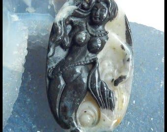 New,Carved Amazonite  Gemstone Mermaid Pendant Bead,57x34x8mm,25.5g