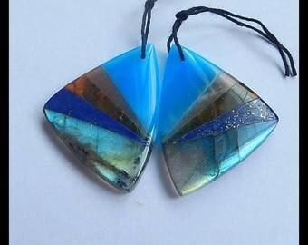New,Labradorite,Lapis Lazuli,Green Opal,Sun Stone,Jasper Intarsia Gemstone Earring Bead,35x25x5mm,11.3g