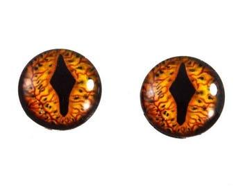 SALE 16mm Glass Eyes, Smaug Eyes, Dragon Eyes, Fantasy Eyes, Eye Cabochons, Glass Eyes, Handmade Eyes, Taxidermy Eyes, Doll Eyes, Jewelry Su