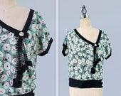 1920s Blouse / 20s Asymmetrical Neckline Top/ Green Floral Print /Black Net Lace Ruffle