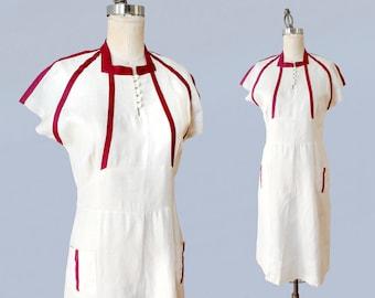 1930s Dress / Late 30s - Early 40s Day Dress / Cotton Linen / Burgundy Stripe Trim / Pockets!