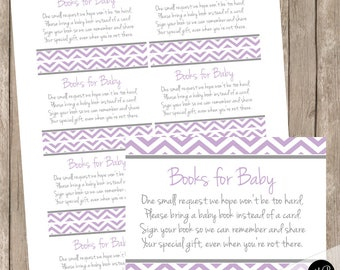 Book Request Insert Card - purple and gray dandelion - baby shower,  purple and gray, baby shower bring a book request card INSTANT pd1