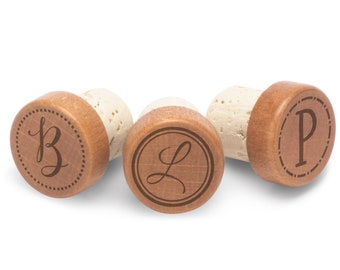 Monogrammed Wooden Wine Stopper - Favors, Gifts, Birthday, Holidays Engraved Wine Stopper WS0104