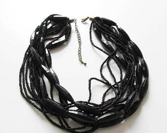 On Sale Black Torsade with Plastic and Glass Beads Mourning Goth Jewelry Multi Strand Necklace