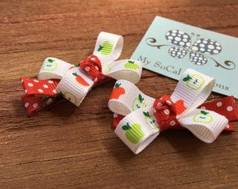 Apples Mini Bow Hair Clip Set-Back to School-No Slip Hair Clips-pigtails-ready to ship