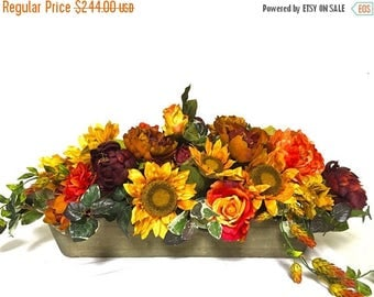 "CHRISTMAS IN JULY Bright Fall Sunflower Peony Rose Arrangement Floral Centerpiece Thanksgiving Large Silk Floral Sunflower Mix Pumpkin 36"" ("