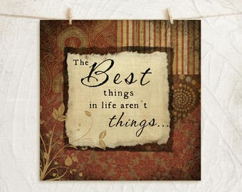 Best Things- 12x12 Art Print - Gifts, Home, Vintage,Inspirational, Word Art, Wall Decor - Word Art -Red, Gold, Black