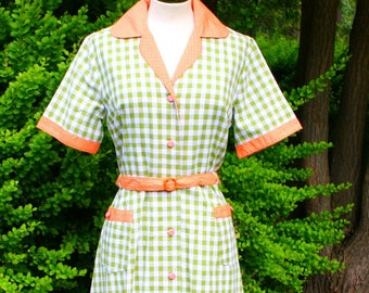 Lovely green and peach dress in Medium and large! *ready to ship*
