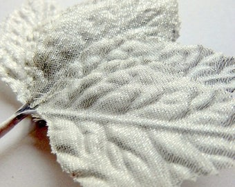 ilovesales Decorative Silver fabric leaves- 1 dozen Fabric leaves - Christmas Decor