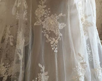 Ivory Alencon Lace Fabric Floral Pearl Beaded Sequined Wedding Lace Fabric 53 Inches Wide 1 Yard