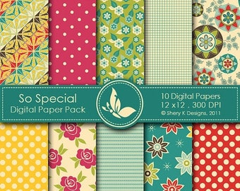 40% off So Special Paper Pack - 10 Digital papers - 12 x12 - 300 DPI