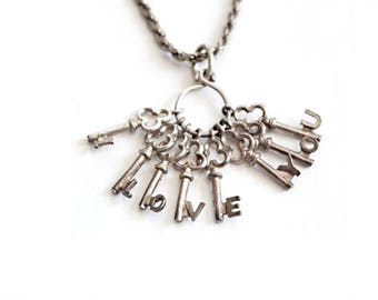 Vintage Sterling Silver I Love You Necklace . Vintage Charm Necklace . Valentines Gifts . Key charm . Love Charm . Vintage Keys 925