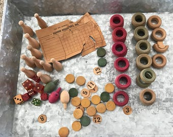 Lot vintage antique Carrom Board game pieces skiddle pins