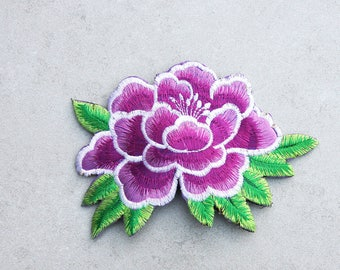 Purple Peony Embroidered Applique Hair Clip // Flower Hair Clip // Colorful Hair Accessories // Gift for Her // Festival Accessories